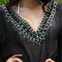 Beachwear Kaftan with waves of gems