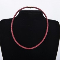 Round Necklace with silver screw lock rhodium plated