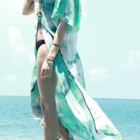 Nature long beachwear with a tie – Pure light green and white