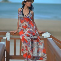 Maxi dress with sailor print – Orange