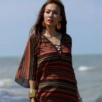 Short beachwear with colourful stripes red pattern