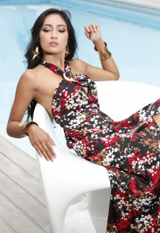 Elegant maxi-dress with red japanese blossom