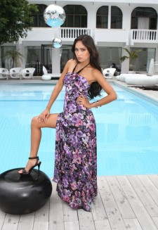 Sexy maxi dress purple floral printed
